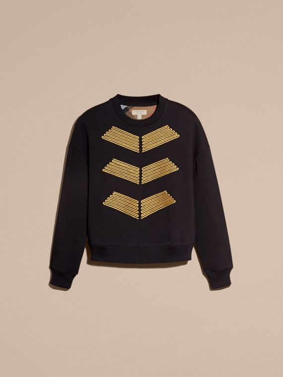 Black Cotton Blend Jersey Sweatshirt with Regimental Detail - cell image 3