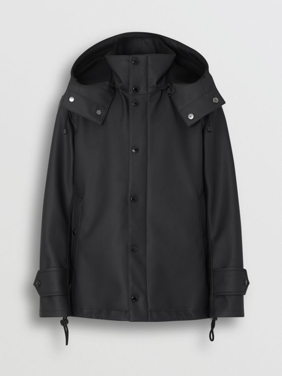 Detachable Hood Showerproof Jacket in Black