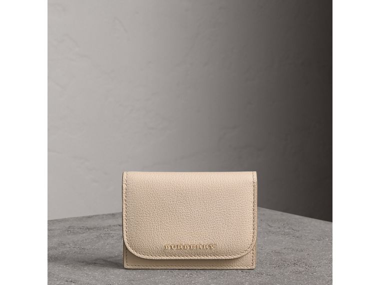 Grainy Leather Card Case in Limestone - Women | Burberry - cell image 4