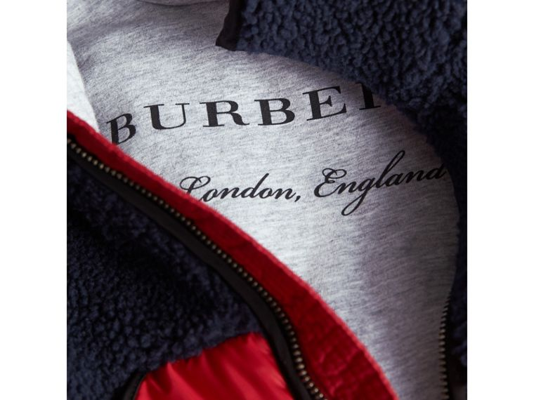 Contrast Hooded Bomber Jacket in Navy | Burberry - cell image 1