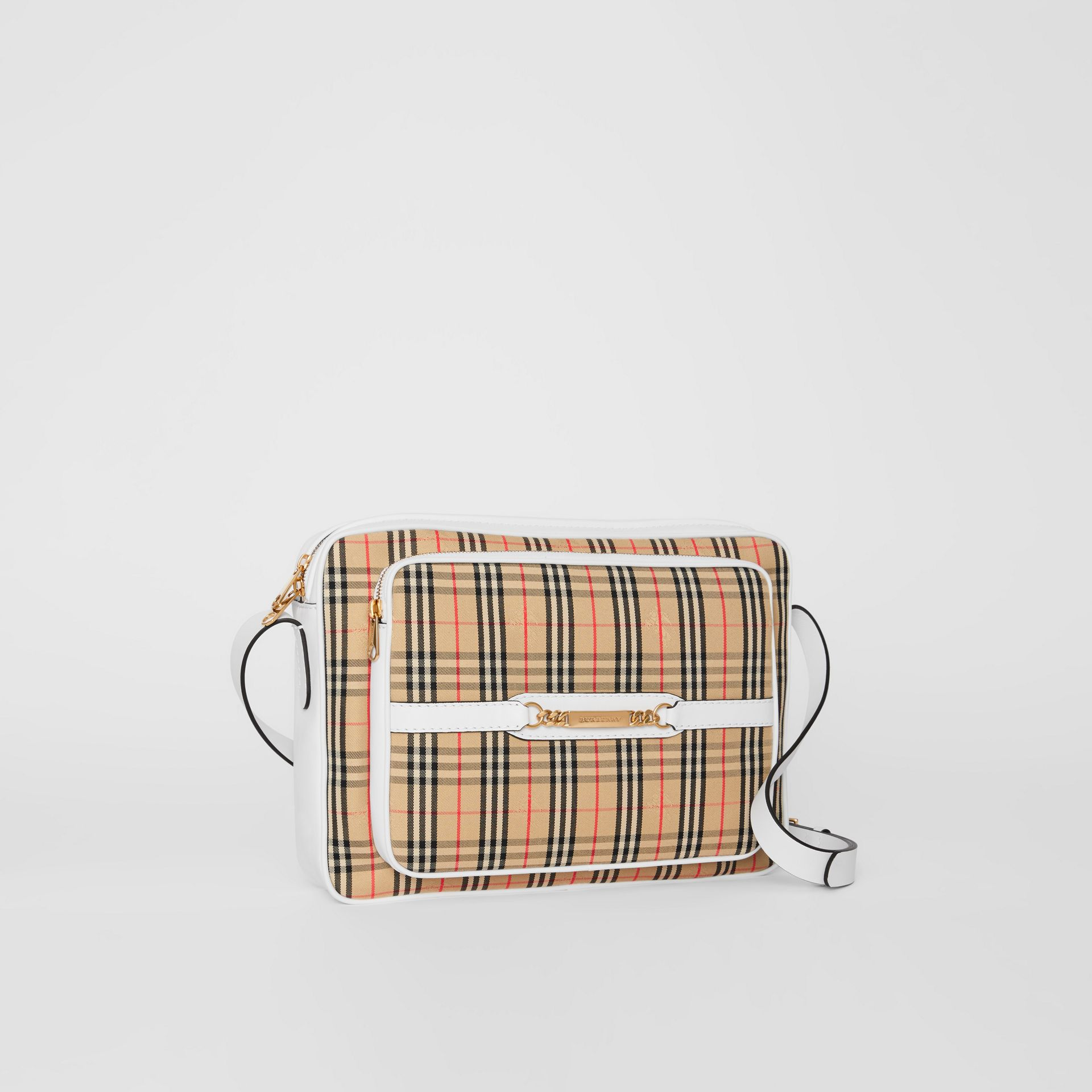 The Large 1983 Check Link Camera Bag in Chalk White - Men | Burberry Canada - gallery image 6