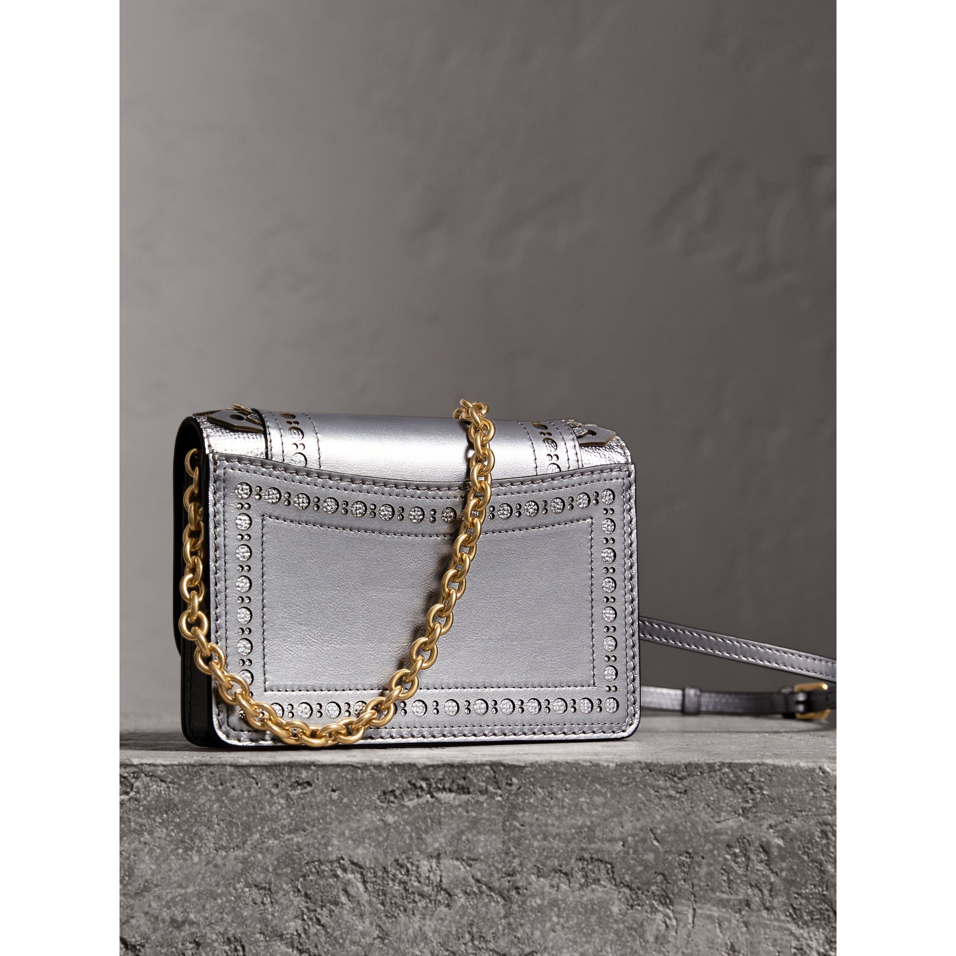 Brogue Detail Metallic Leather Wallet with Detachable Strap in Silver - Women | Burberry - gallery image 4