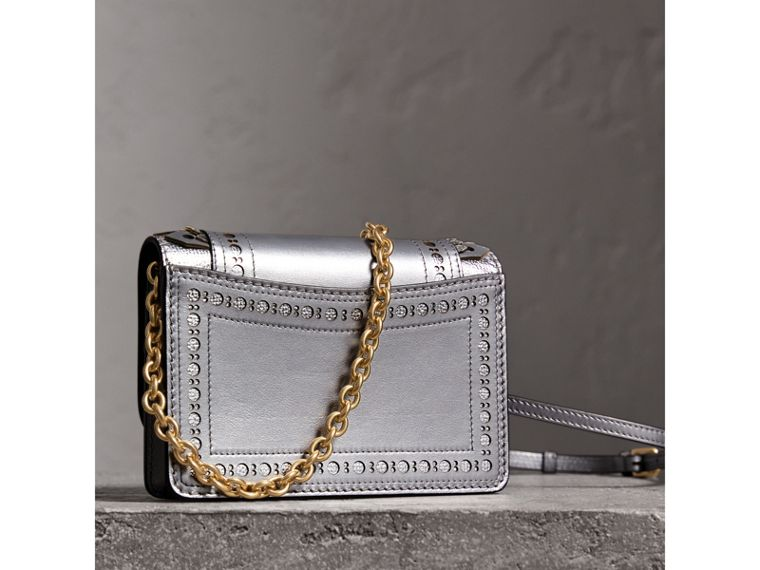 Brogue Detail Metallic Leather Wallet with Detachable Strap in Silver - Women | Burberry - cell image 4