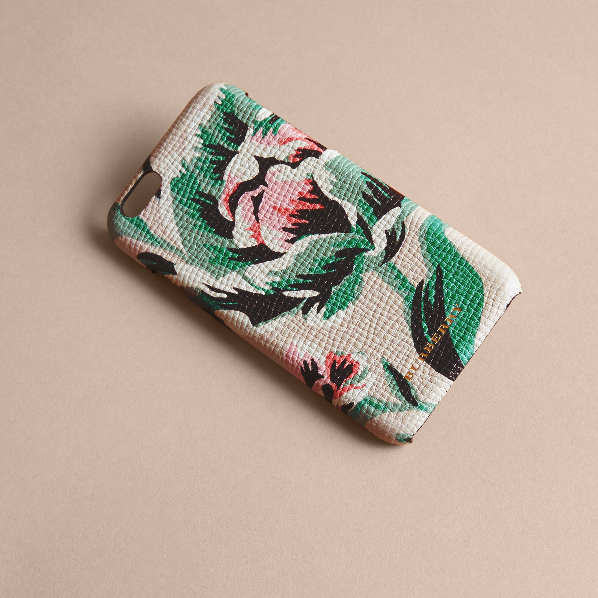 Peony Rose Print Leather iPhone 6 Case Natural / Emerald Green - gallery image 3