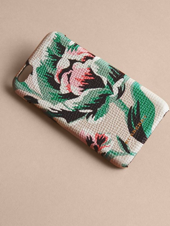 Peony Rose Print Leather iPhone 6 Case Natural / Emerald Green - cell image 2