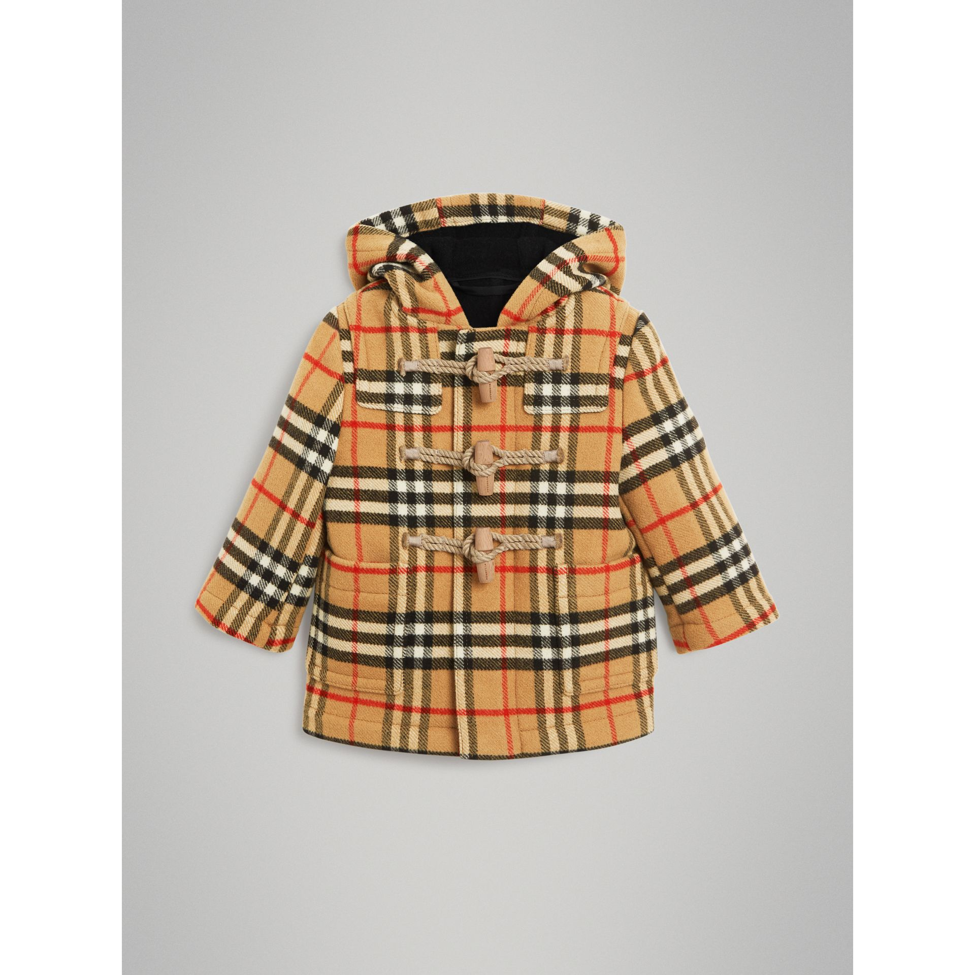 Vintage Check Wool Duffle Coat in Black | Burberry - gallery image 0