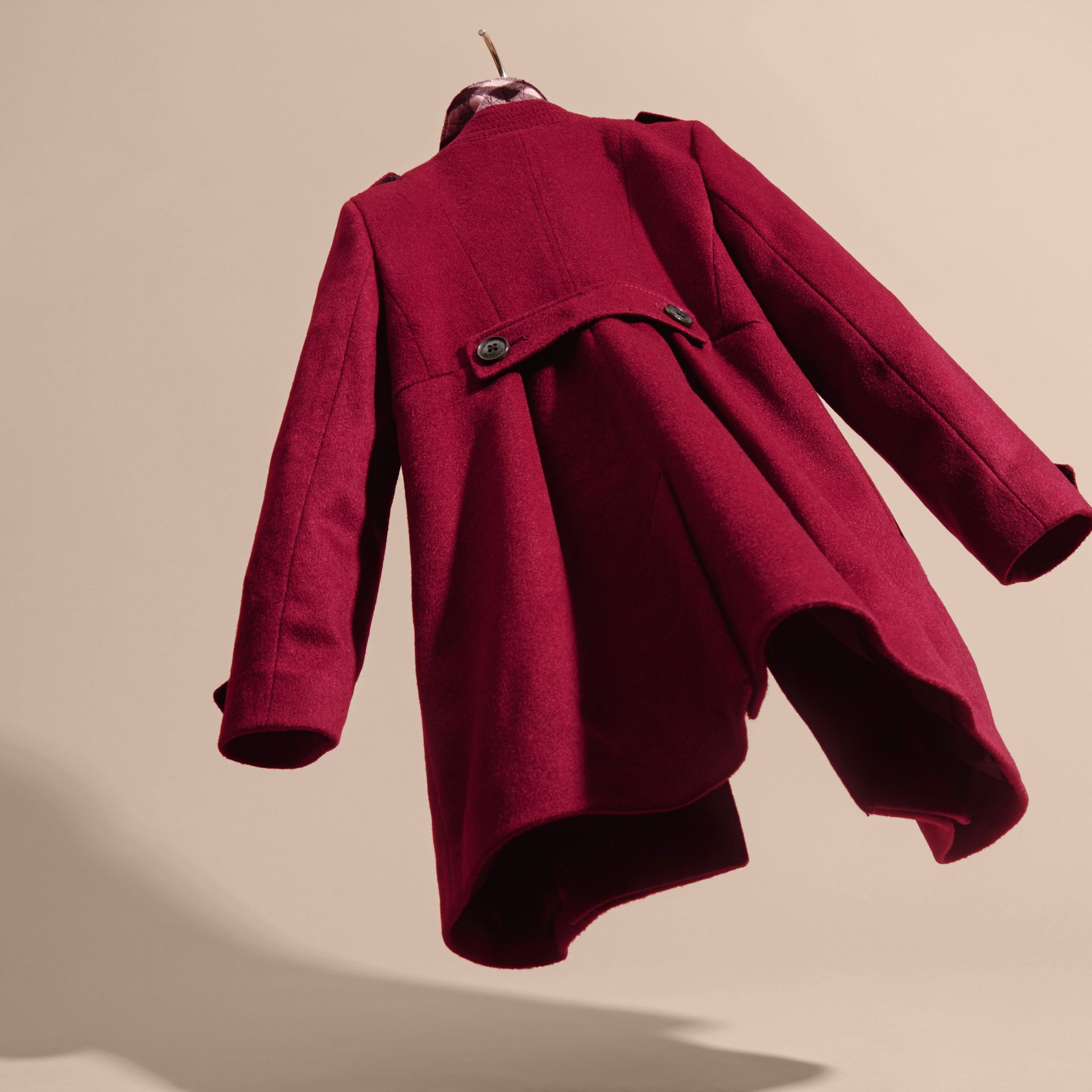 Cherry pink Cashmere Military Coat Cherry Pink - gallery image 4