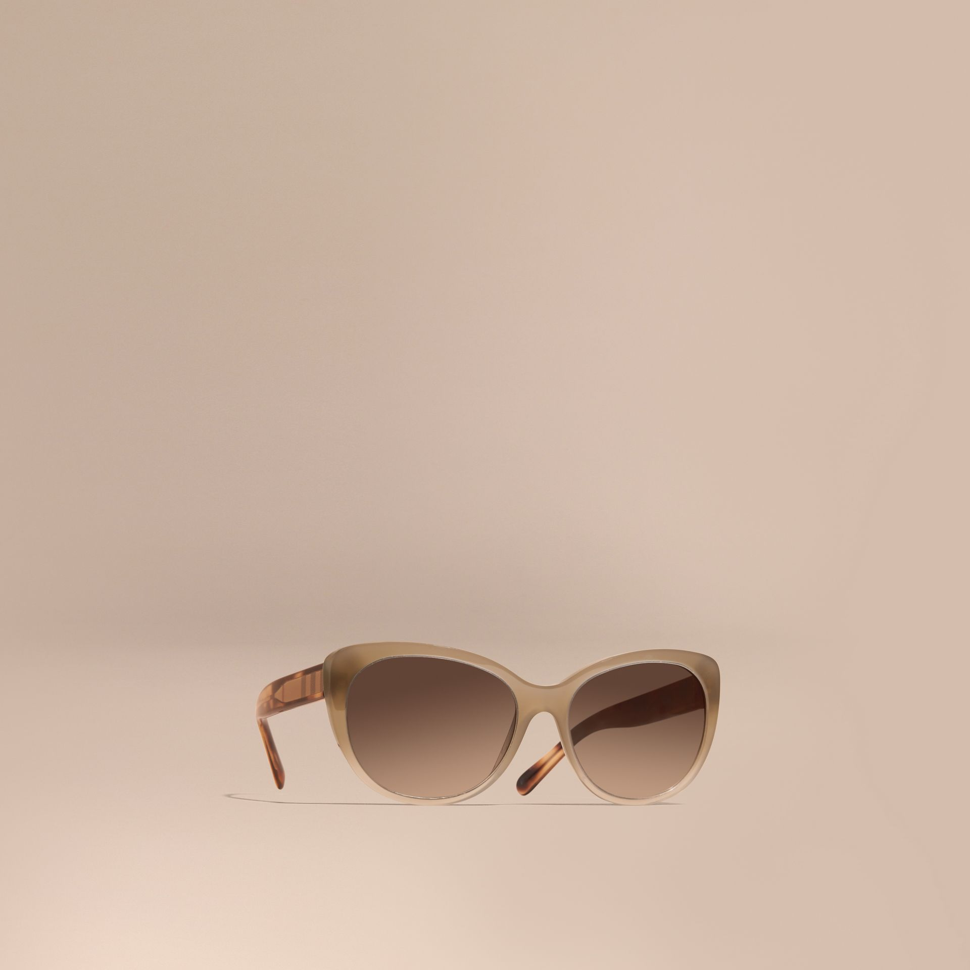 Check Detail Cat-eye Sunglasses in Chino Grey - Women | Burberry Canada - gallery image 1