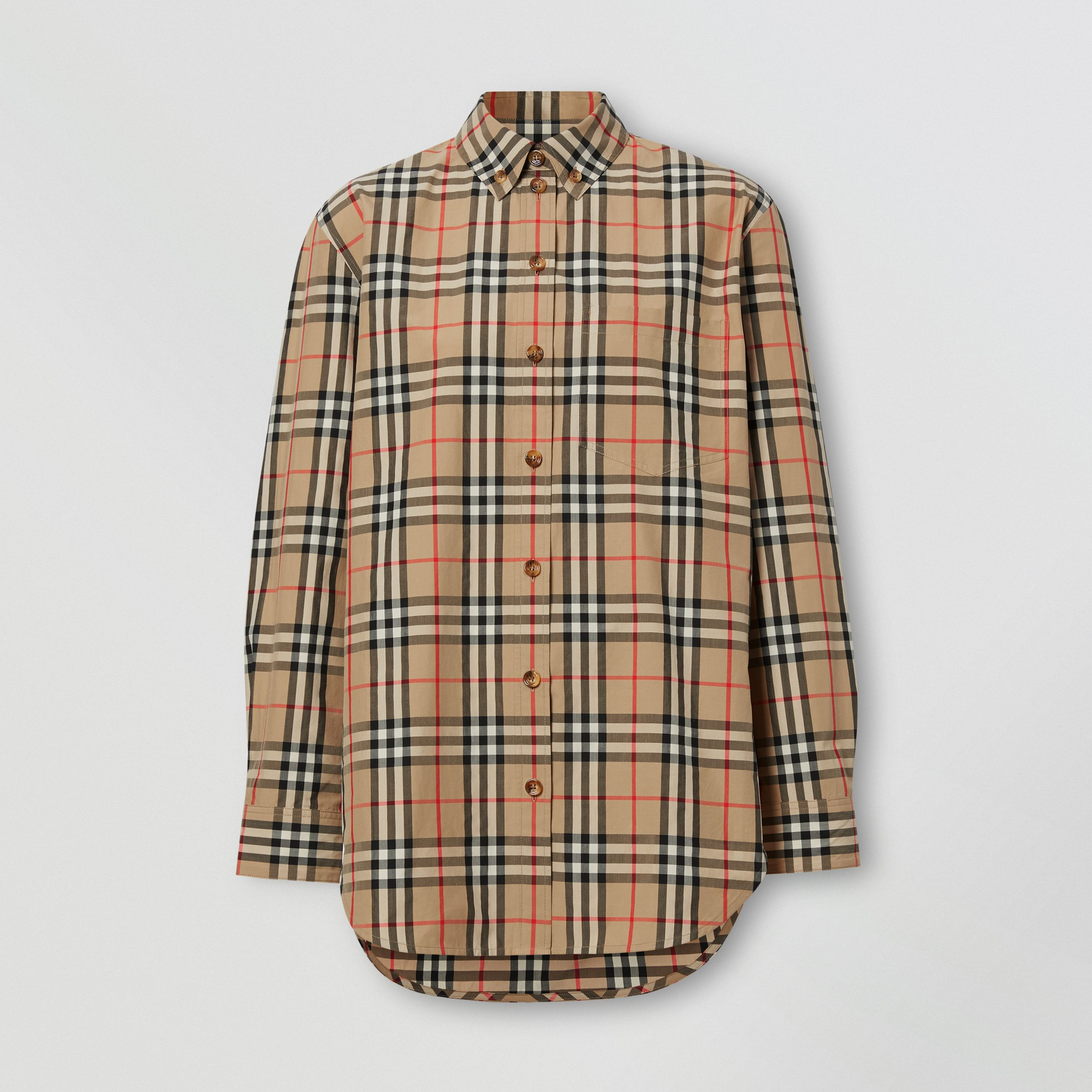 Button-down Collar Vintage Check Cotton Shirt in Archive Beige - Women | Burberry - 4
