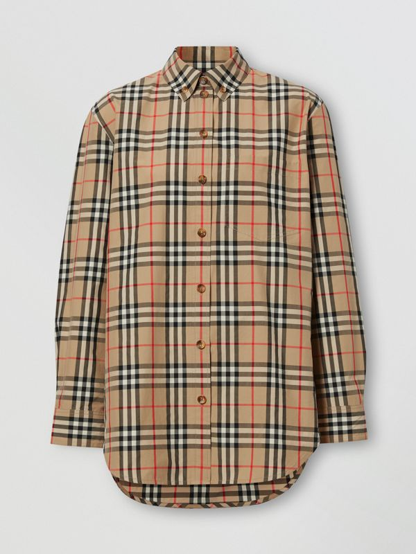 Button-down Collar Vintage Check Cotton Shirt in Archive Beige - Women | Burberry - cell image 3
