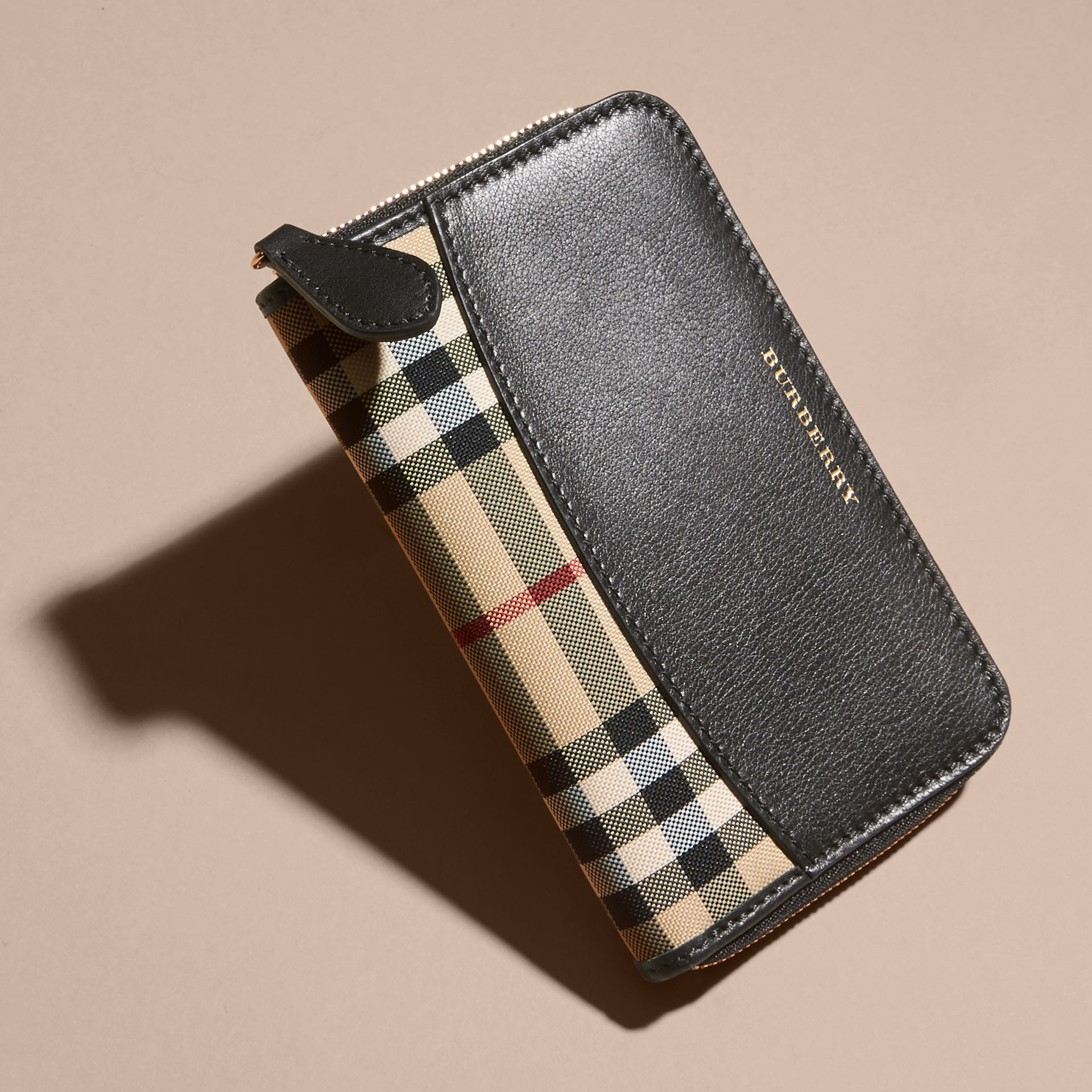 Medium Horseferry Check and Leather Ziparound Wallet - gallery image 3