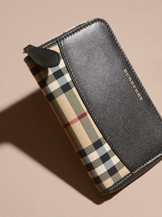 Medium Horseferry Check and Leather Ziparound Wallet - cell image 2