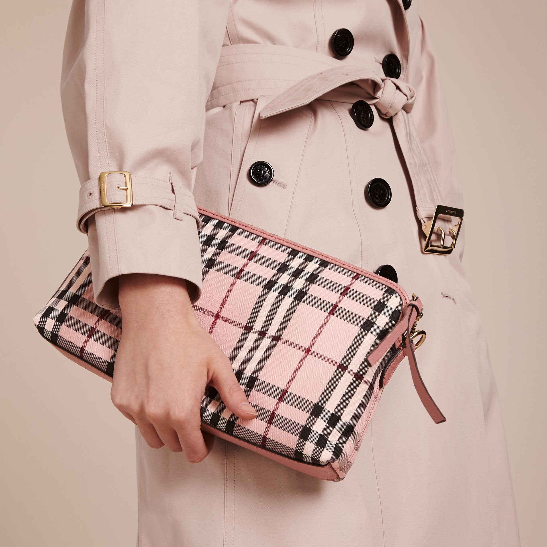 Ash rose/ dusty pink Overdyed Horseferry Check and Leather Clutch Bag - gallery image 3