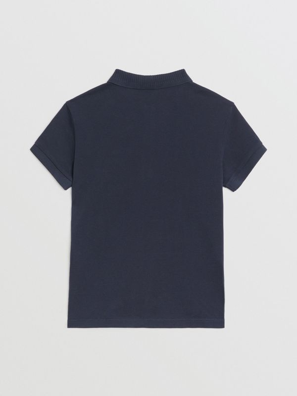 EKD Logo Cotton Piqué Polo Shirt in Navy | Burberry United Kingdom - cell image 3