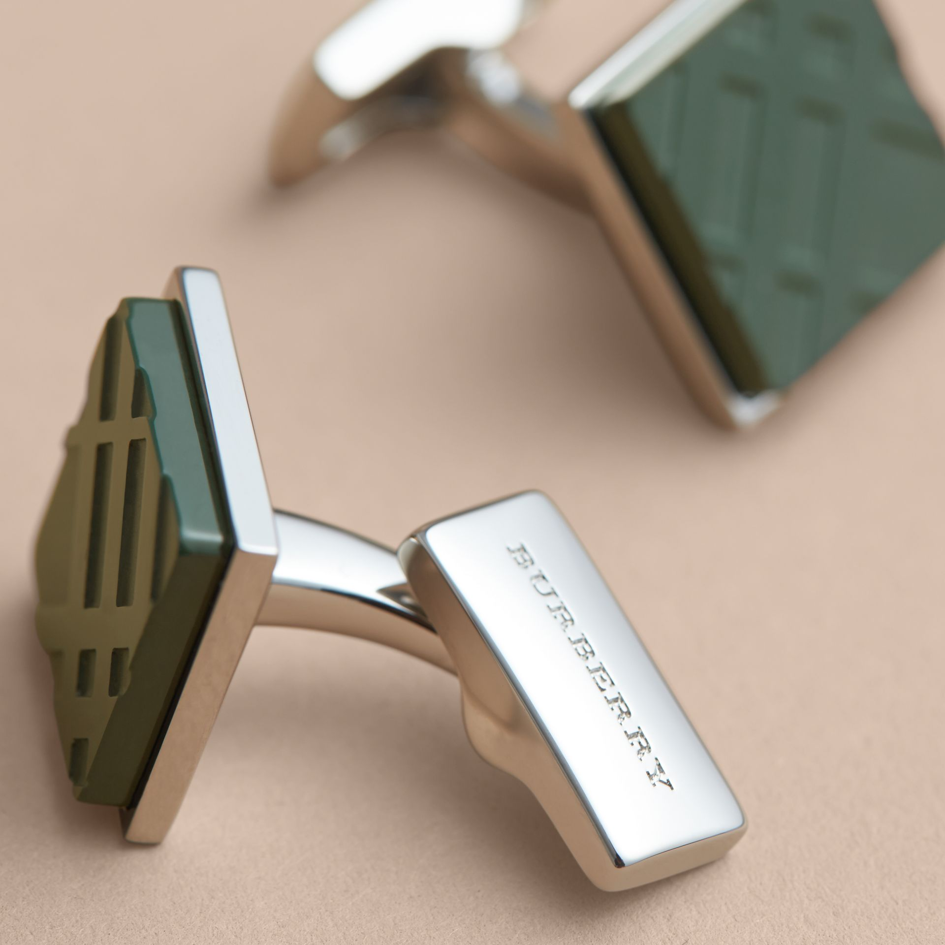 Check-engraved Square Cufflinks Dark Teal - gallery image 3