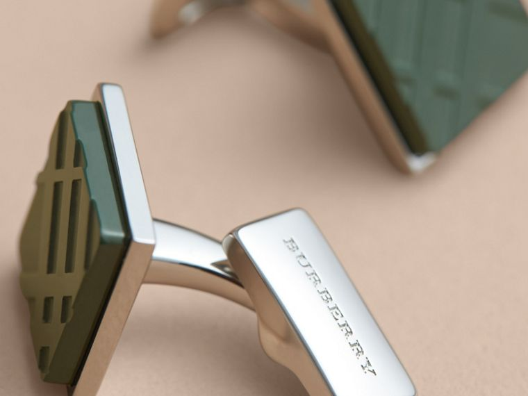 Check-engraved Square Cufflinks in Dark Teal - Men | Burberry - cell image 2