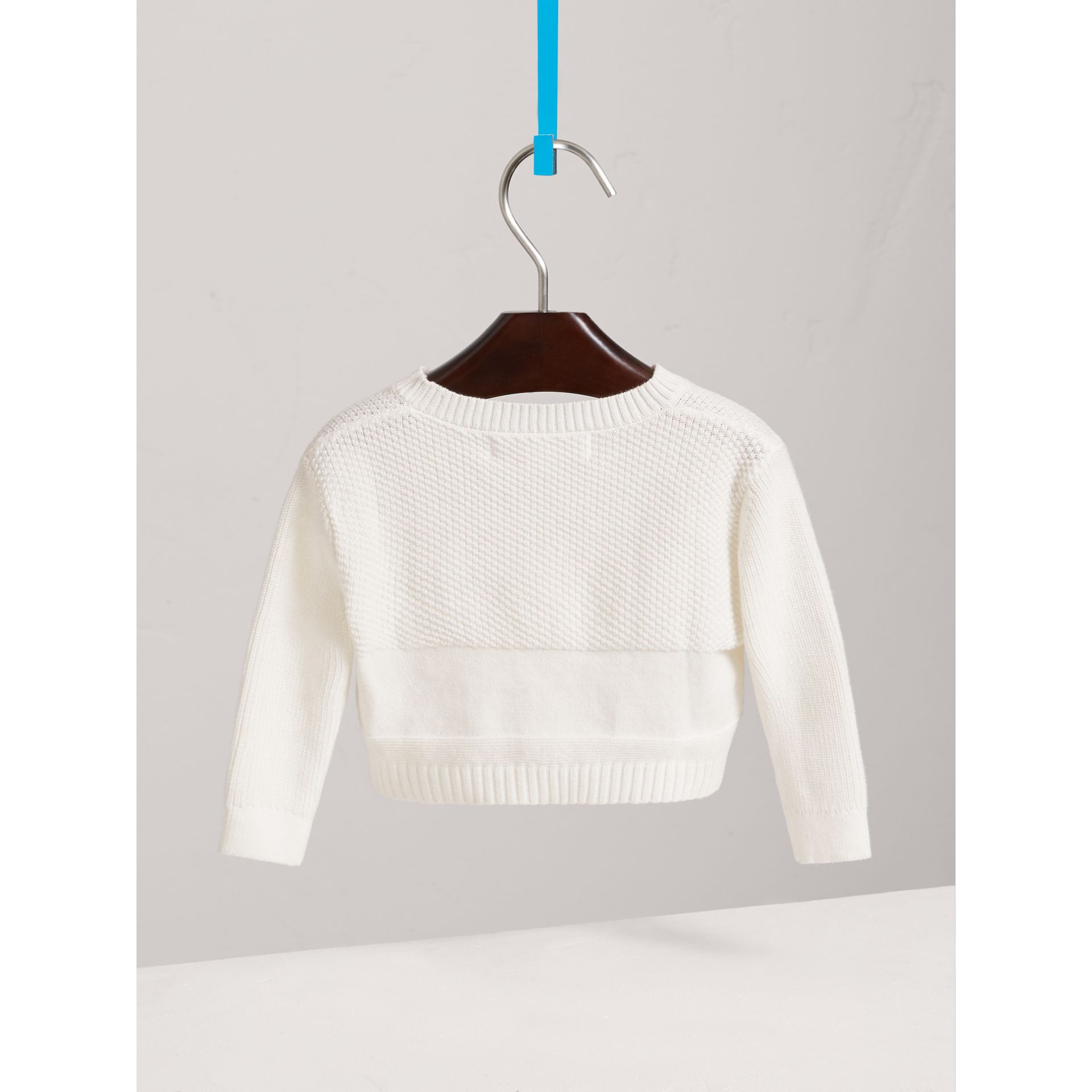 Multi-stitch Cotton Cardigan in White - Children | Burberry United Kingdom - gallery image 3