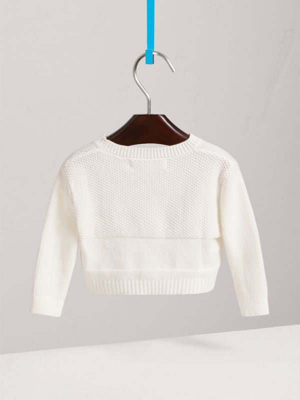 Multi-stitch Cotton Cardigan in White - Children | Burberry - cell image 3