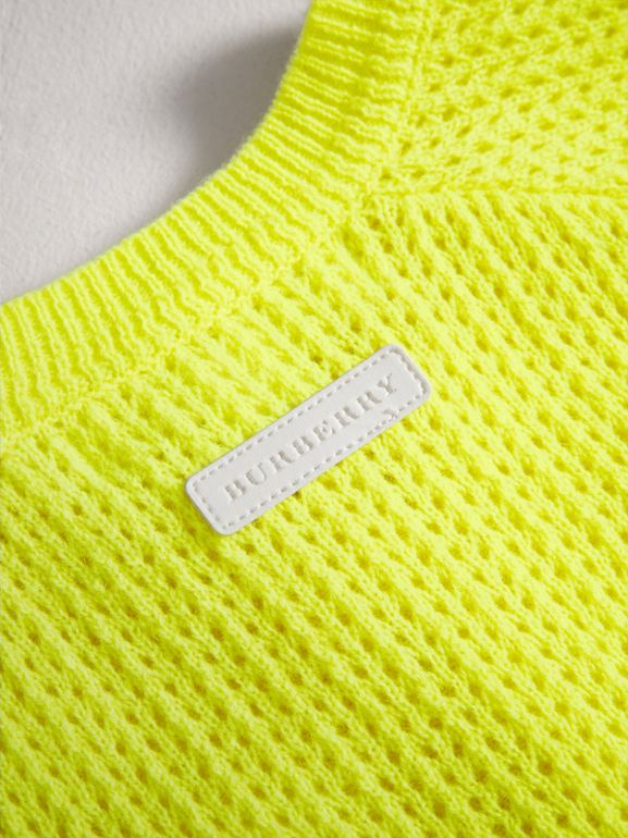 Open-stitch Knitted Cashmere Cardigan in Neon Yellow | Burberry - cell image 1