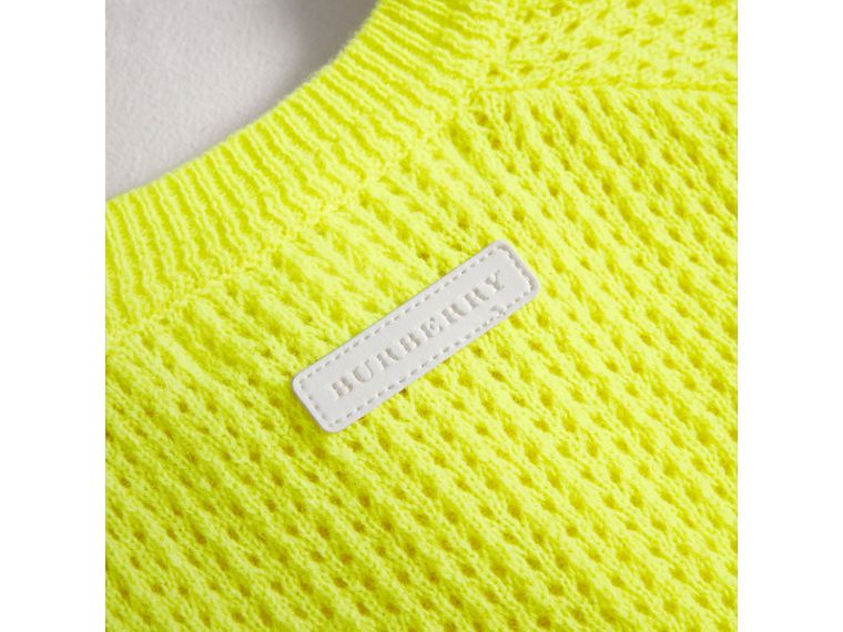 Open-stitch Knitted Cashmere Cardigan in Neon Yellow | Burberry Australia - cell image 1