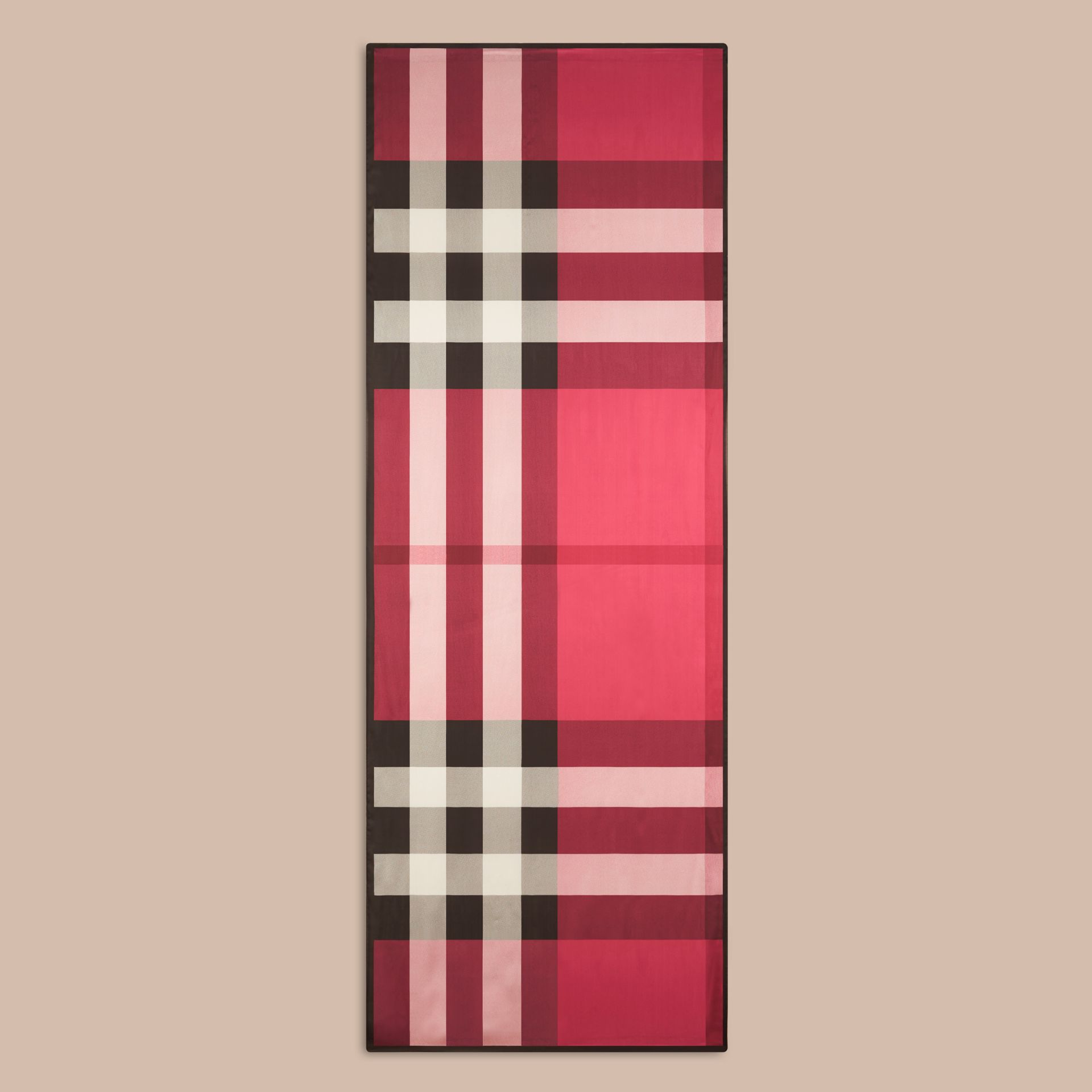Lightweight Check Silk Scarf in Fuchsia Pink - gallery image 4