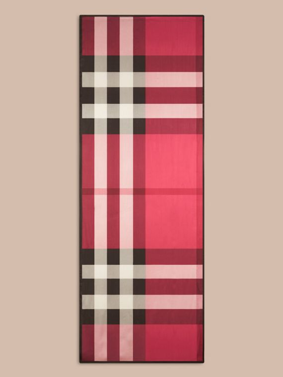 Lightweight Check Silk Scarf in Fuchsia Pink - Women | Burberry - cell image 3