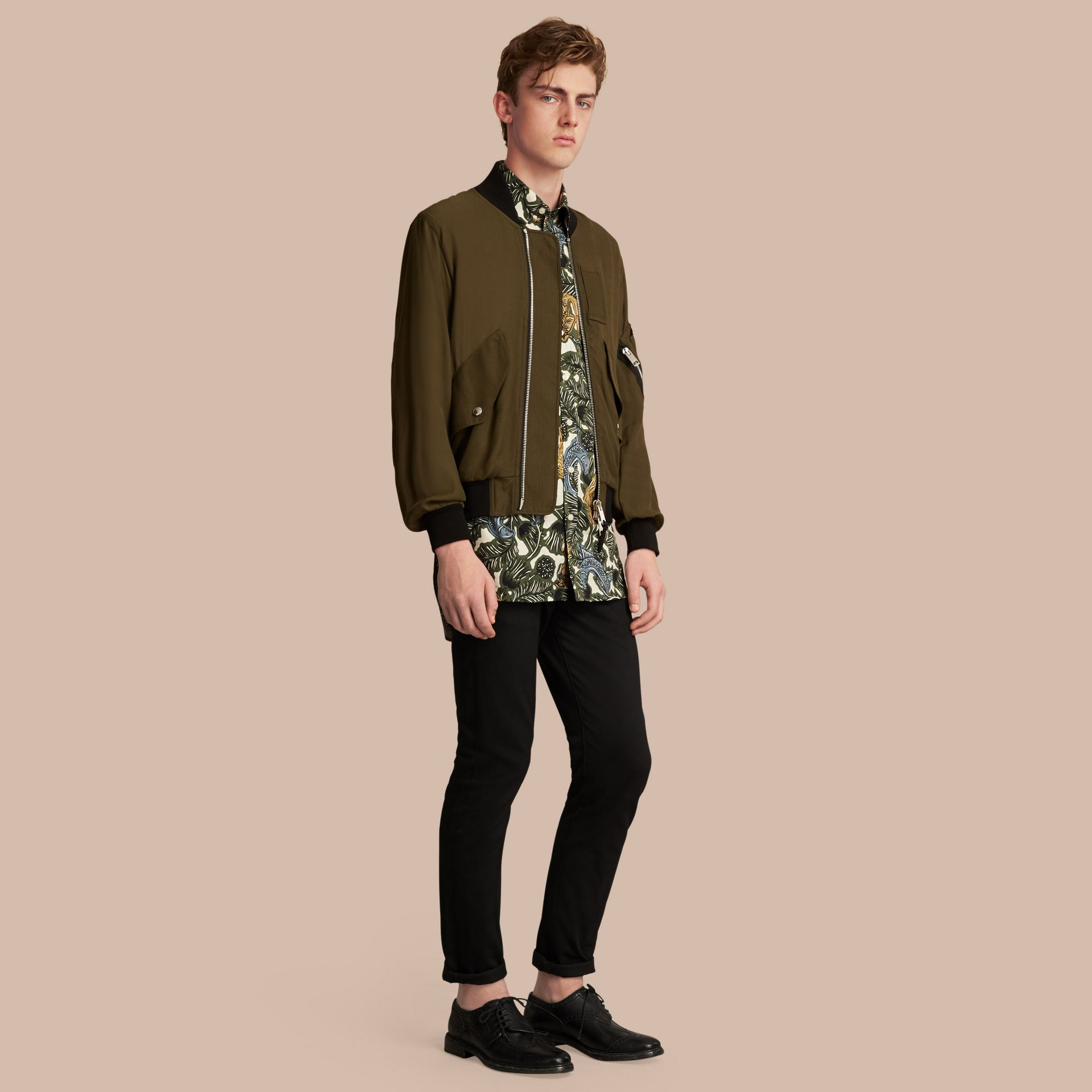 Beasts Print Cotton Poplin Longline Shirt in Sage Green - gallery image 6