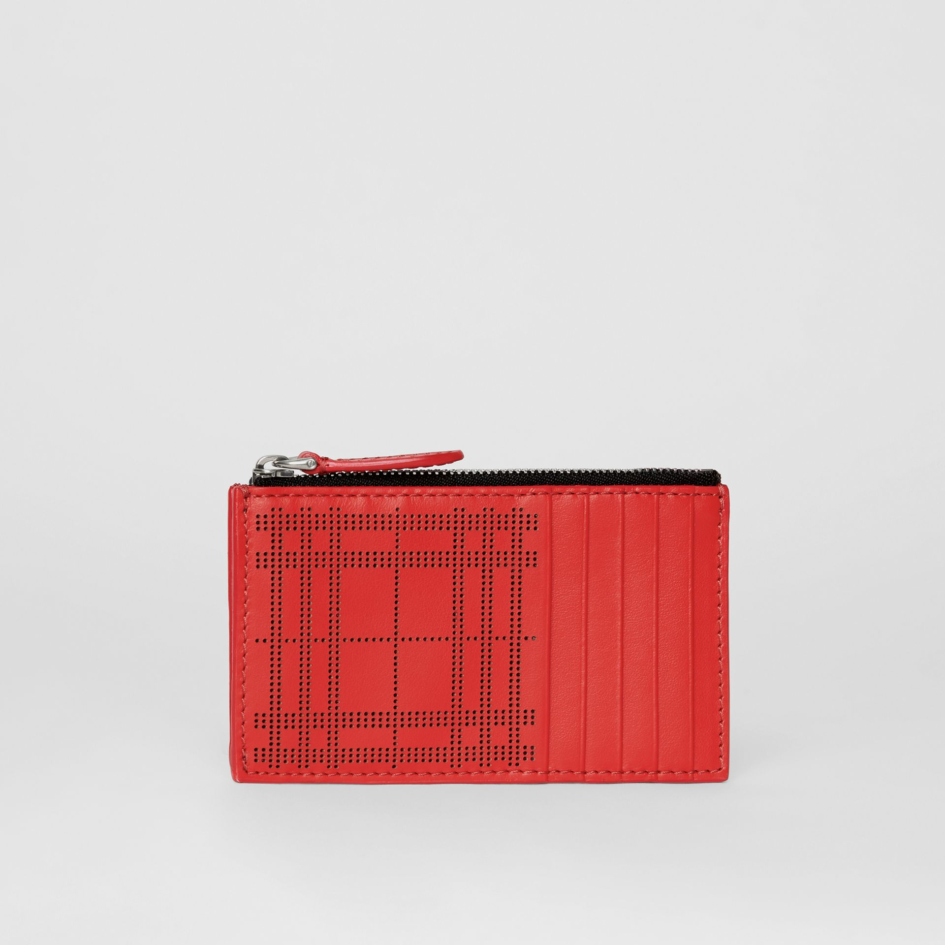 Perforated Check Leather Zip Card Case in Rust Red - Men | Burberry - gallery image 4