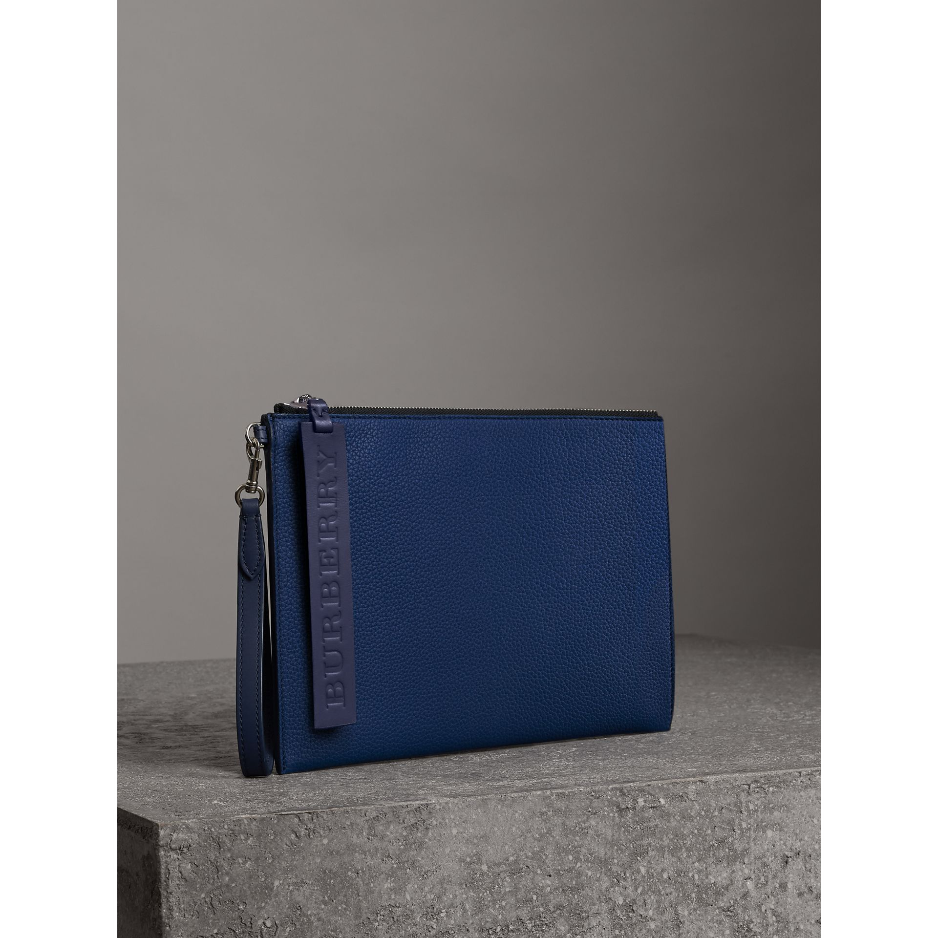 Grainy Leather Zip Pouch in Bright Ultramarine | Burberry Canada - gallery image 5