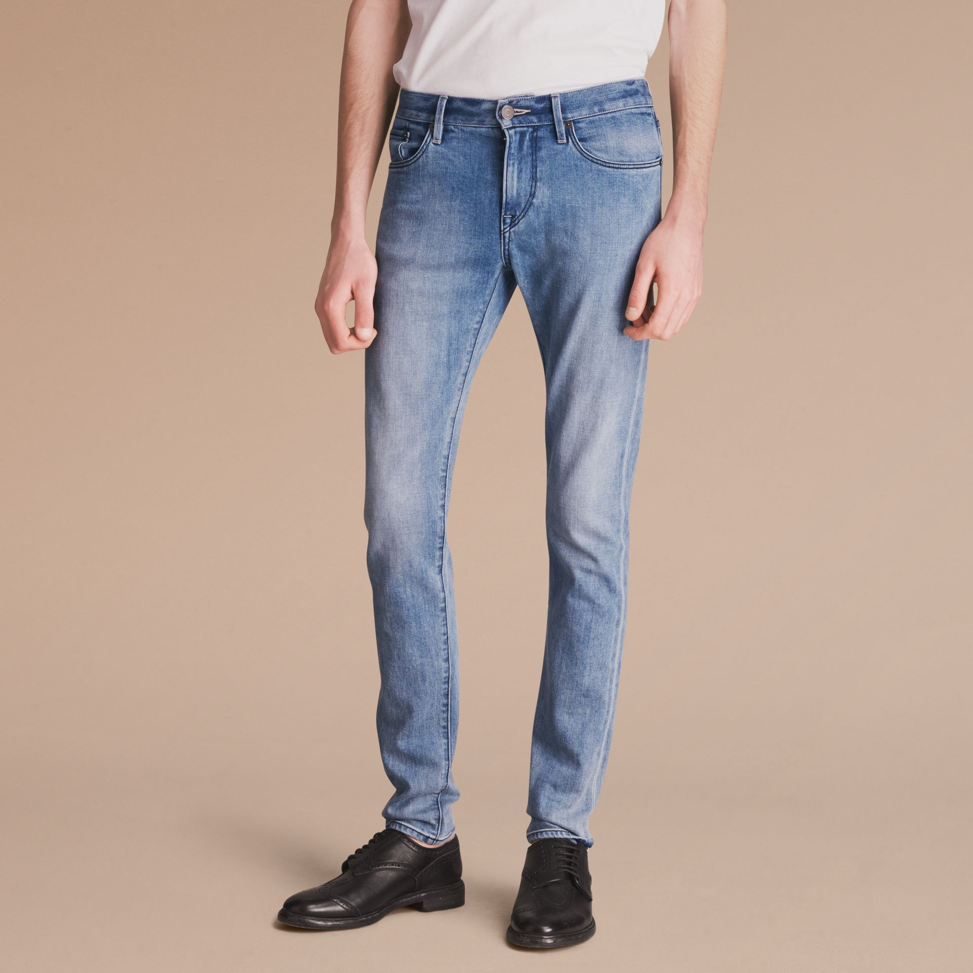 Skinny Fit Brushed Stretch Denim Jeans in Light Indigo Blue - Men | Burberry - gallery image 7