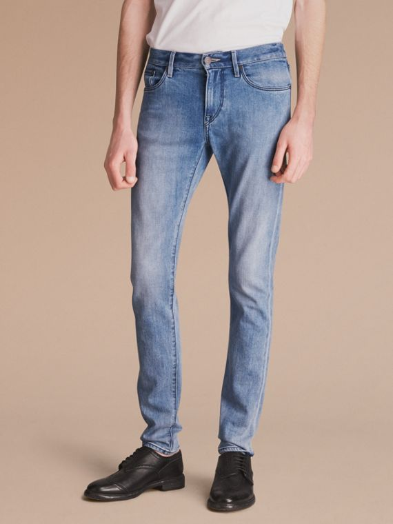 Skinny Fit Brushed Stretch Denim Jeans in Light Indigo Blue