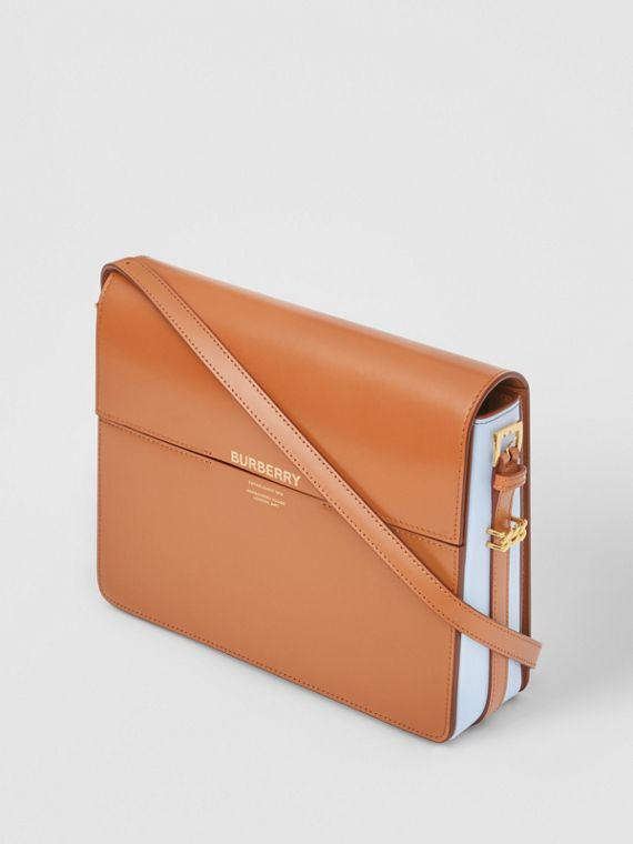 Large Two-tone Leather Grace Bag in Nutmeg/pale Blue