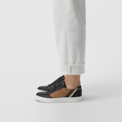 Check Detail Leather Sneakers in House