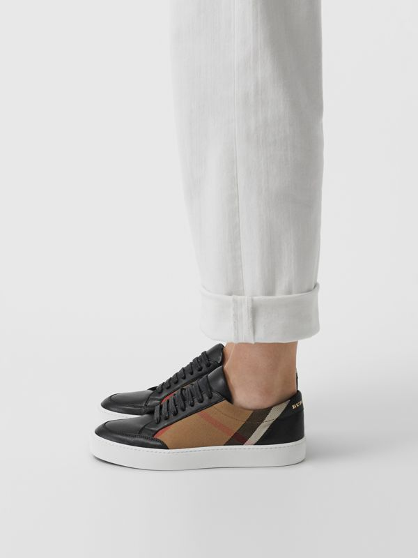 Check Detail Leather Sneakers in House Check/black - Women | Burberry Canada - cell image 2