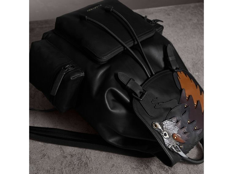 The Large Rucksack in Leather with Beasts Motif - Men | Burberry - cell image 4