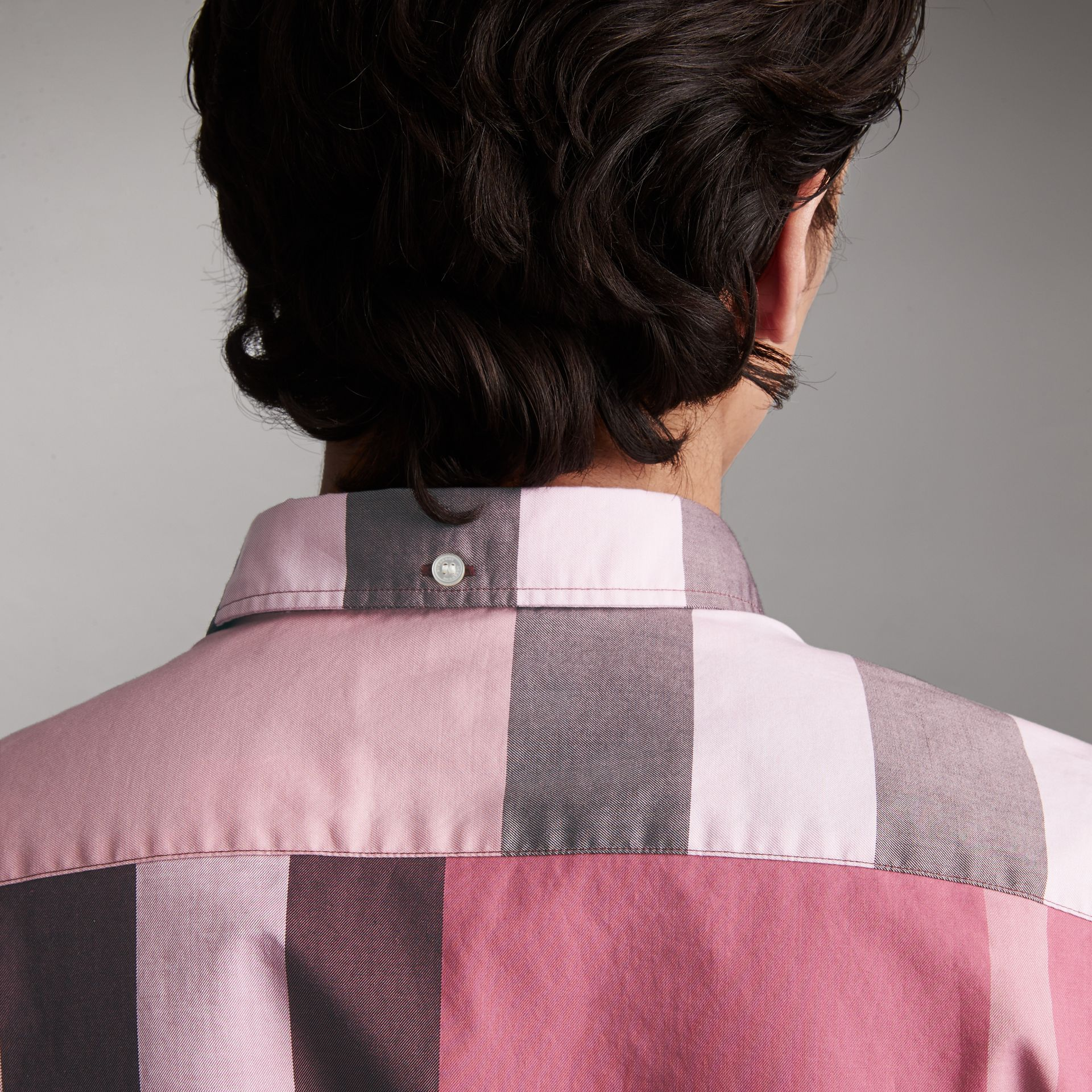 Button-down Collar Short-sleeve Check Cotton Shirt in Ash Rose - Men | Burberry - gallery image 4