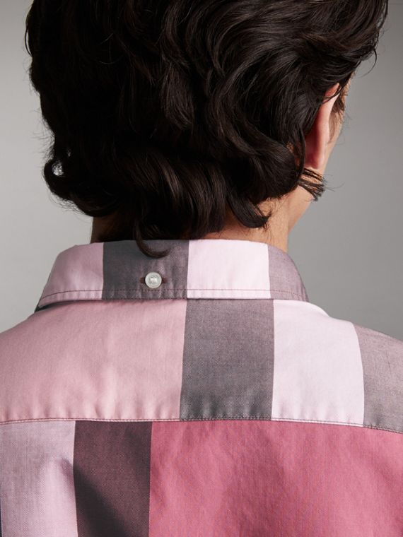 Button-down Collar Short-sleeve Check Cotton Shirt in Ash Rose - Men | Burberry - cell image 3