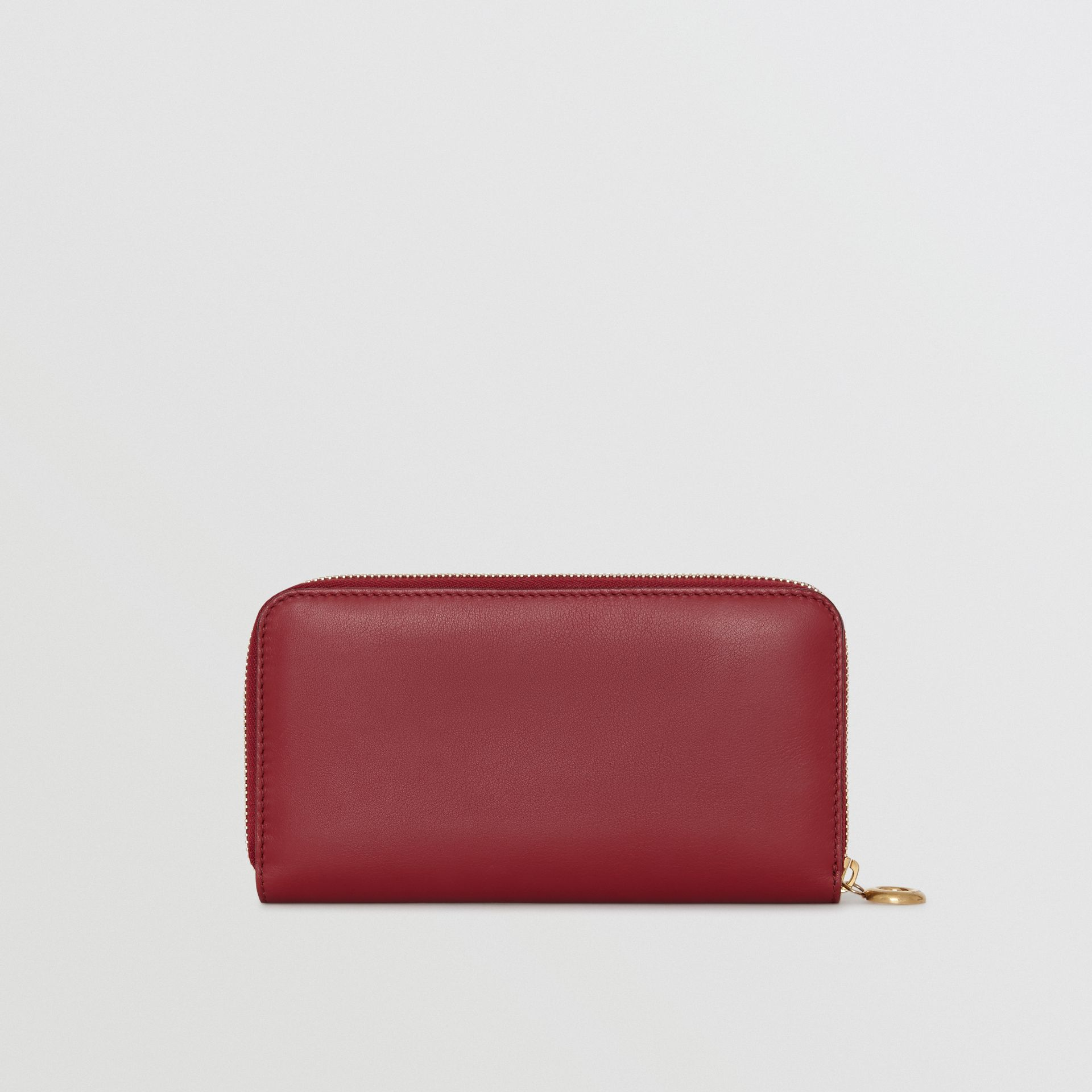 Embossed Crest Two-tone Leather Ziparound Wallet in Crimson - Women | Burberry Canada - gallery image 4