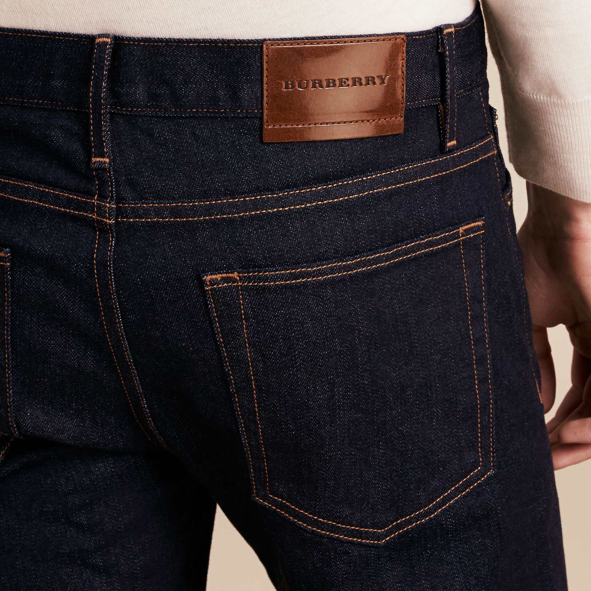 Straight Fit Stretch Japanese Selvedge Denim Jeans in Dark Indigo - Men | Burberry - gallery image 2