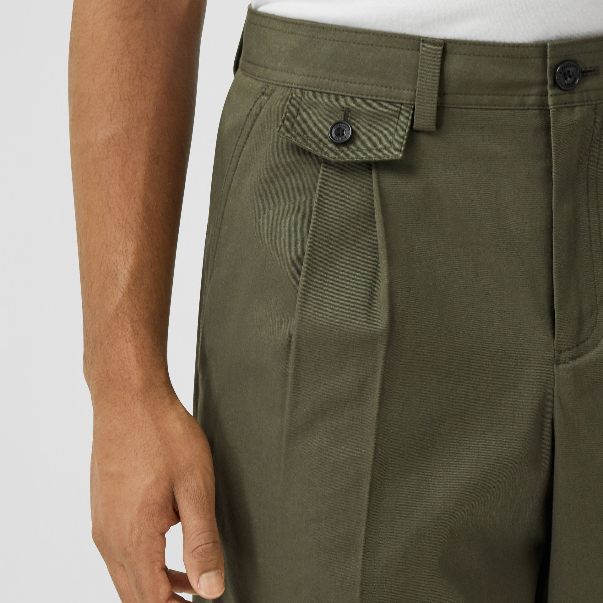 Icon Stripe Detail Cotton Twill Tailored Shorts in Olive - Men | Burberry - gallery image 1