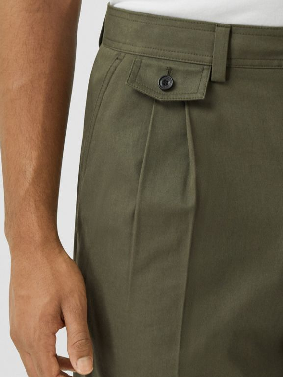 Icon Stripe Detail Cotton Twill Tailored Shorts in Olive - Men | Burberry - cell image 1