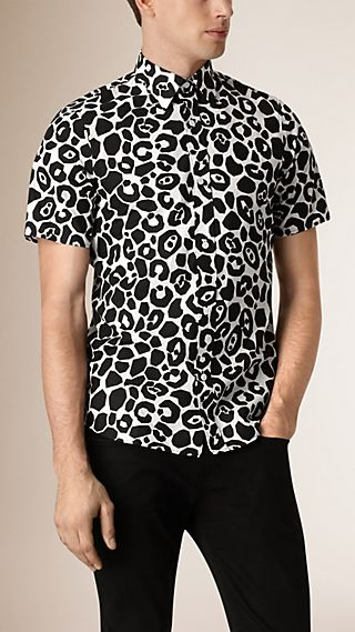 Short-sleeved Abstract Animal Print Cotton Shirt