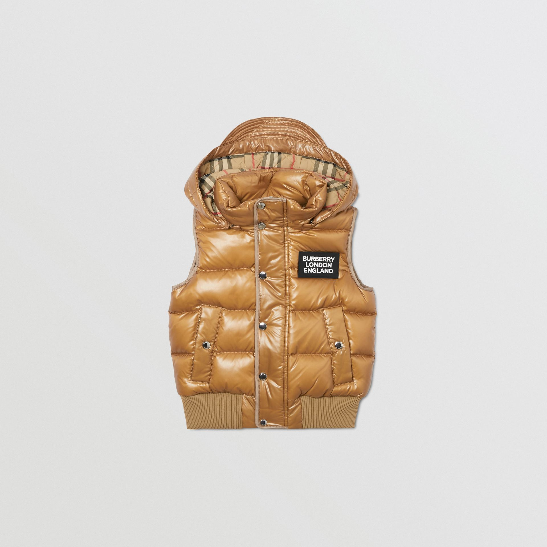 Detachable Hood Nylon Puffer Gilet in Camel | Burberry - gallery image 0