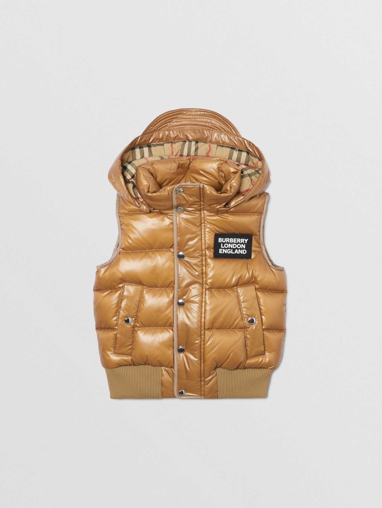 Detachable Hood Nylon Puffer Gilet in Camel