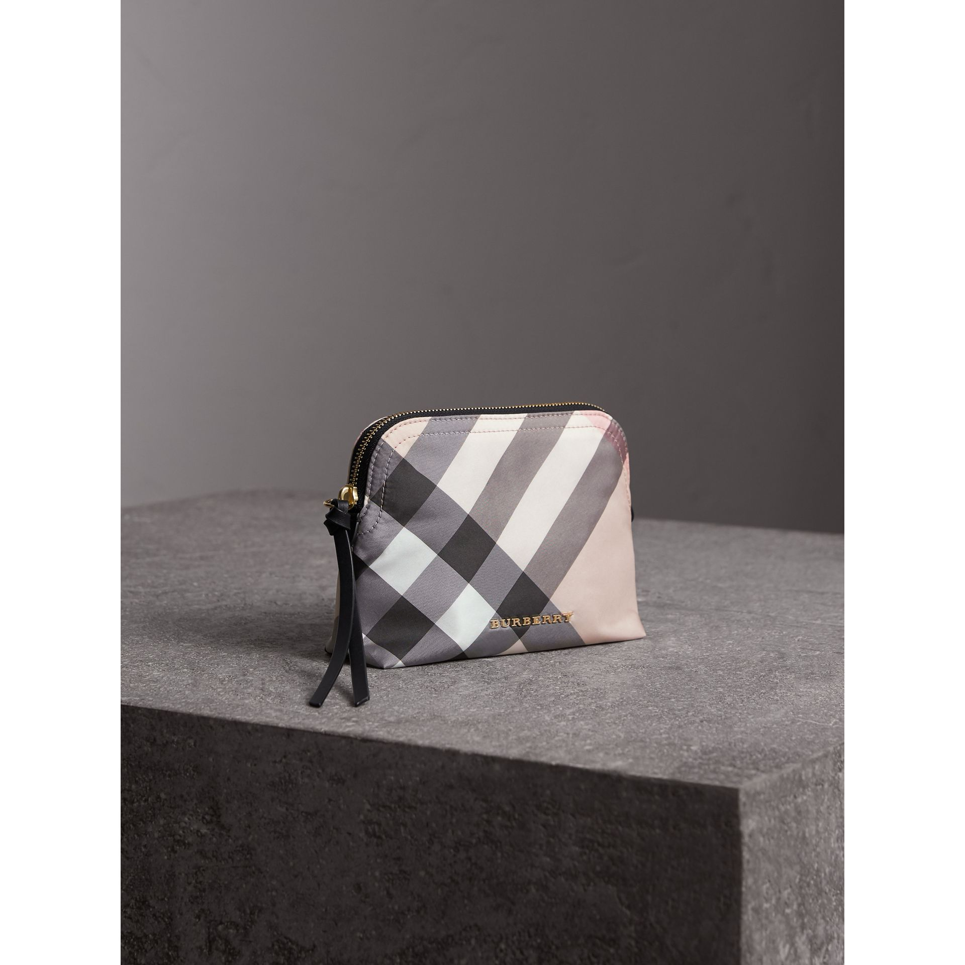 Medium Zip-top Check Technical Pouch in Ash Rose - Women | Burberry Australia - gallery image 5