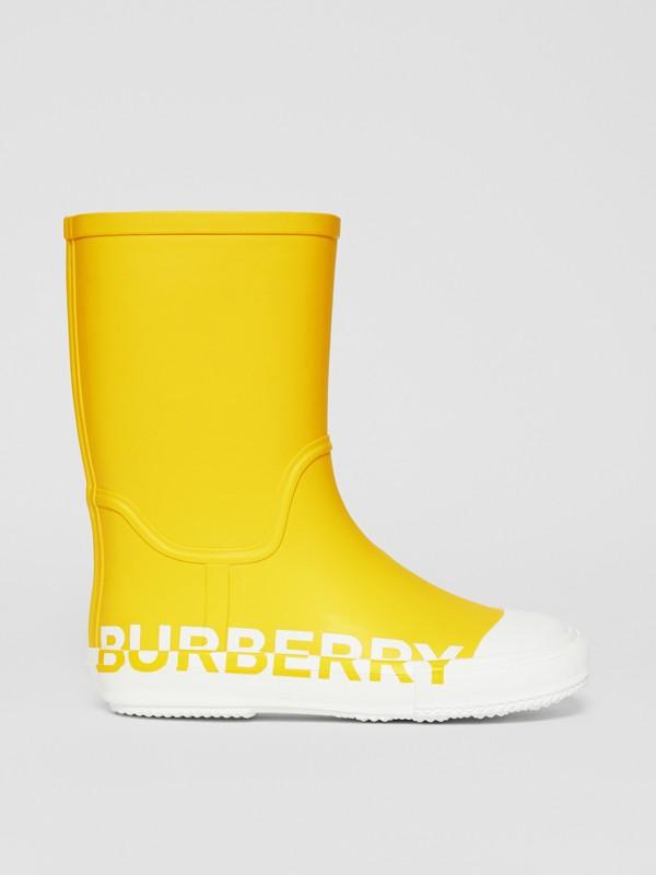 Двухцветные резиновые сапоги с логотипом (Канареечно-желтый) - Для детей | Burberry - cell image 3