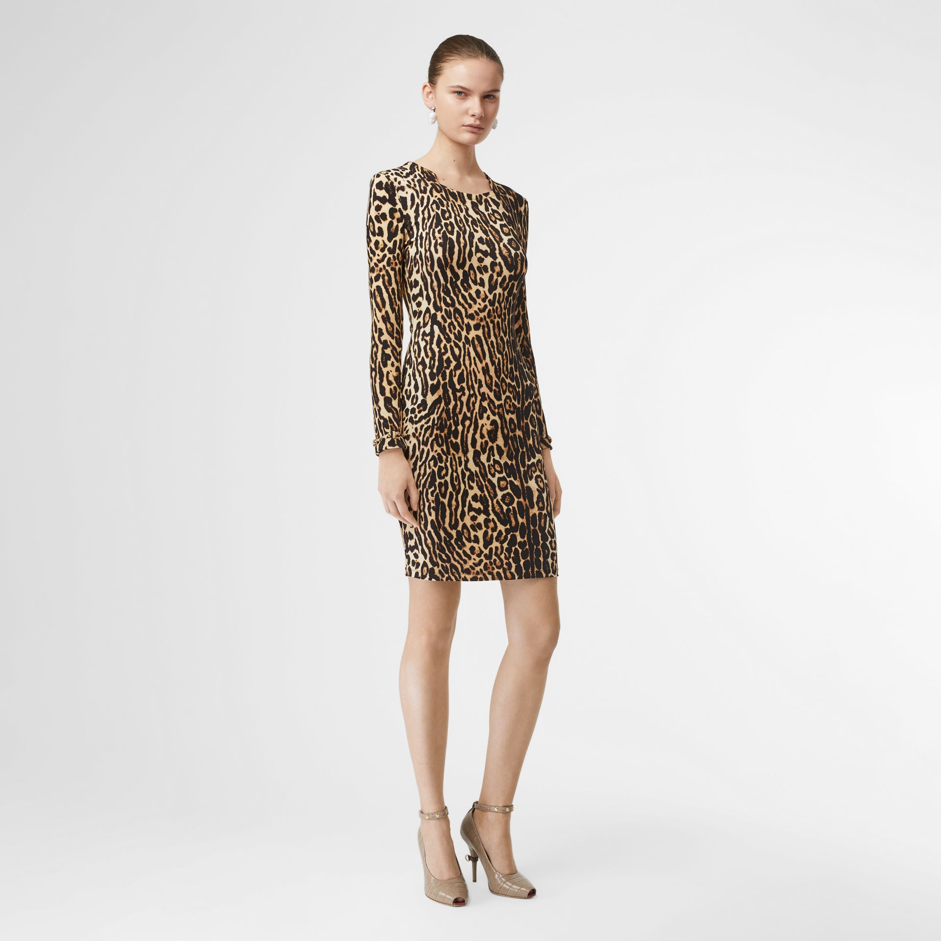 Leopard Print Stretch Jersey Mini Dress in Camel - Women | Burberry Hong Kong S.A.R - gallery image 0