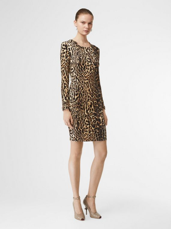 Leopard Print Stretch Jersey Mini Dress in Camel