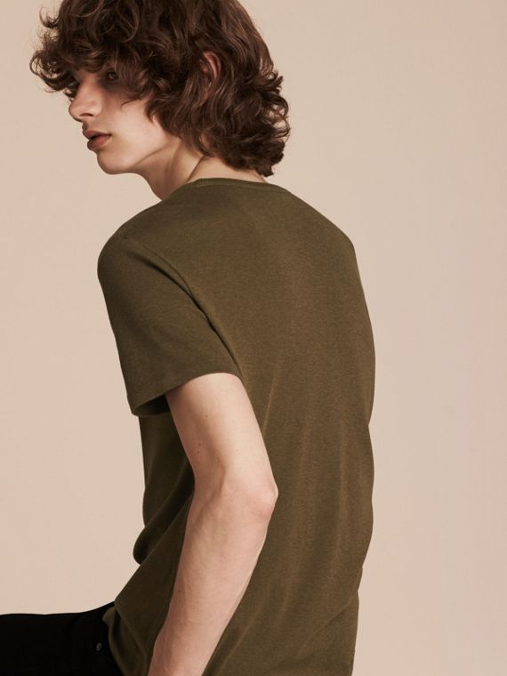 Military green Cotton Wool Blend T-shirt Military Green - cell image 3