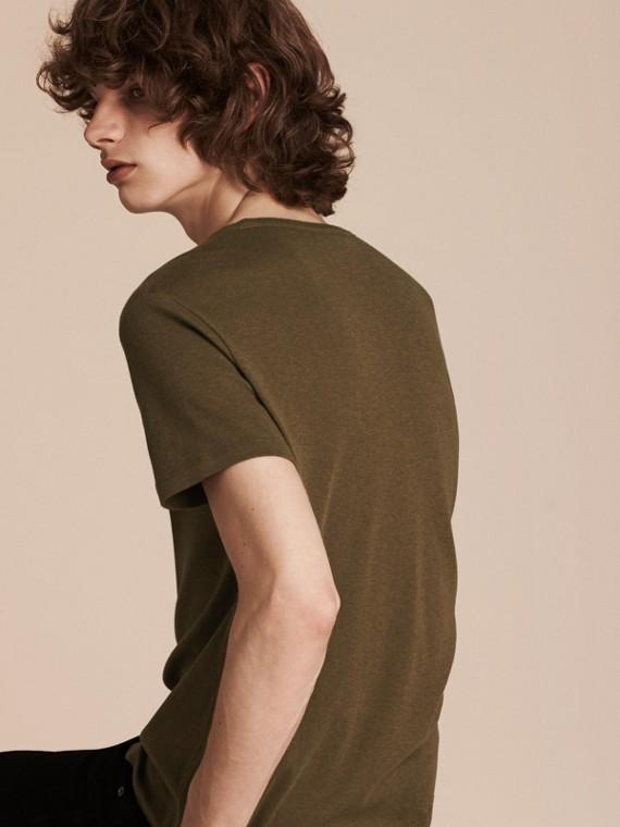 Vert militaire T-shirt en coton et laine mélangés Vert Militaire - cell image 3